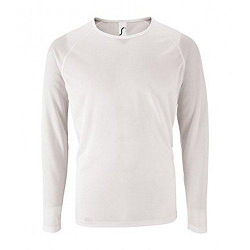SOLS Camiseta de Manga Larga Modelo Performance Para Hombre (XL/Blanco)