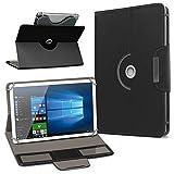 UC-Express Schutzhülle für Acer Iconia Tab 10 A3-A50 Tablet Tasche aus Kunstleder mit Standfunktion 360° Drehbar Hülle Schutztasche Ständer, Farbe:Schwarz