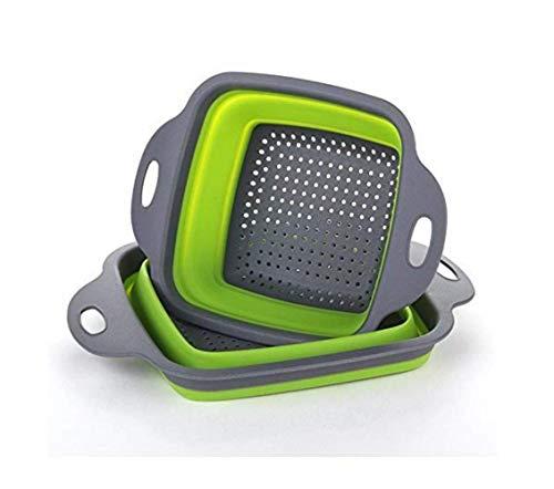 Geagodelia 2-teiliges Sieb aus Silikon, zusammenklappbar, quadratisch, zusammenklappbar, Filterkorb für Gemüse oder Obst, 2 Größen grün