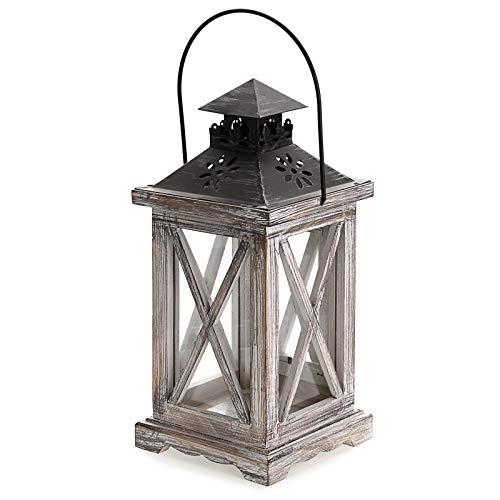 BSTKEY Hölzerne Laterne Kerzenhalter Vintage rustikale dekorative Kerzenlampe mit Griff, drinnen und draußen tragbare Laterne für Dekor