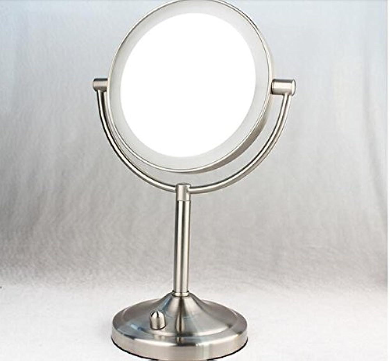 LED Illuminated Mirror Table Mirror European HD Double-Sided Mirror Metal Mirror