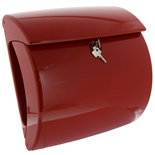 BURG-WÄCHTER, Briefkasten mit integriertem Zeitungsfach in Klavierlack-Optik, A4 Einwurf-Format, EU Norm EN 13724, Hochwertiger Kunststoff, Piano 886 R, Rot