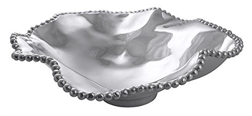 Mariposa Pearled large wavy serving bowl, One Size, Silver