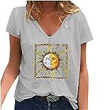 Camiseta de mujer elegante cuello en V, blusa suelta, digital, sol, luna, estampada, camiseta básica de verano para mujer, blusa de moda, túnica informal gris XXXXXL