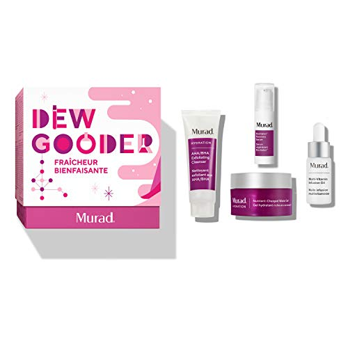 Murad Dew Gooder Holiday Set with Nutrient-Charged Water Gel Full Size 1.7 Fl Oz and Trial Sizes of AHA/BHA Exfoliating...