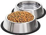 Taglory Comedero para Perro de Acero Inoxidable, Comedero y Bebedero Perro Antideslizante, 2 Unidades, 800ml, 5mm