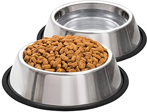 Taglory Hundenapf Grosse Hunde, Hundenapf Edelstahl, Fressnapf Hund und Wassernapf für Hunde, 2-er Pack,3mm