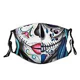 Mexican Catrina Dia De Muertos Pattern Face Mouth Cover with 2pcs Filter Men Women Mask