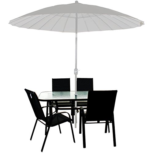 Marko Outdoor Garden Furniture Set Patio Outdoor Rectangular Glass Table 4/6 Chairs Parasol (4 Chairs + Table)