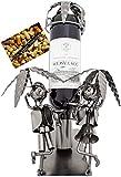 BRUBAKER Weinflaschenhalter Traumurlaub unter Palmen - Flaschenständer aus Metall mit Grußkarte für Weingeschenk