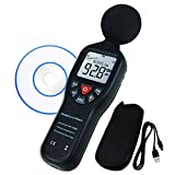 Data Logging Function Sound Level Decibel Meter with Backlight Display High Accuracy Measuring 30dB~130dB Instrument Compact Professional (with CD Software for Recording)
