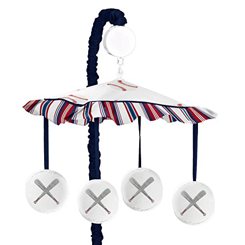 Sweet Jojo Designs Red, White and Blue Musical Baby Crib Mobile for Baseball Patch Sports Collection