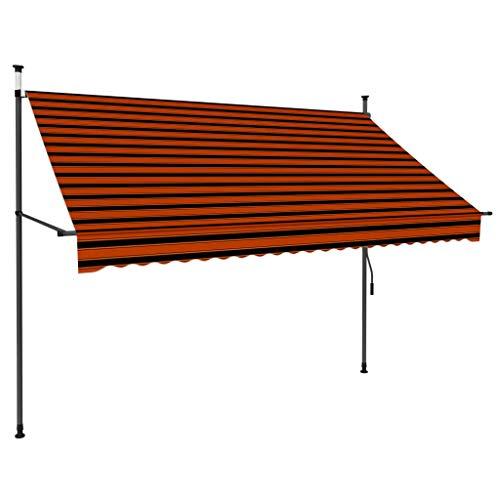vidaXL Markise Einziehbar Handbetrieben mit LED Wasserabweisend Klemmmarkise Balkonmarkise Sonnenschutz Terrasse Balkon Garten 250cm Orange Braun