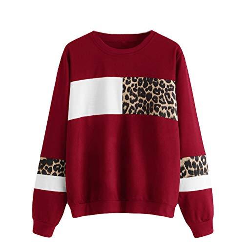 Alwayswin Frauen Leopardenmuster Sweatshirt Oansatz Langarm Bluse Tops Baumwolle Pullover Lange Hülsen Mode T-Shirt Oberteil Herbst Sport Langarmshirt Sweatshirts Lässig Pullover