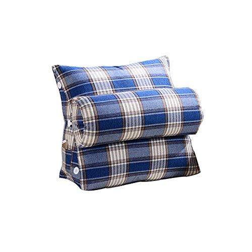 coussins pour Triangle Coussinets À Dossier Large En Coton Ajustable, Linge De Lit Canapé Taille Du Col L * H 60X50CM (Couleur : Bleu, taille : Striped lattice 60cm)