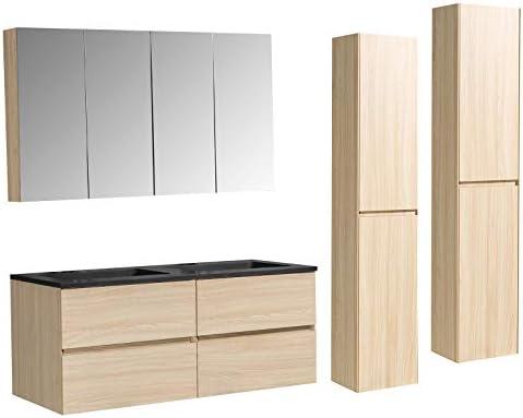 Lavabos:Blanc brillant Meubles de bain de couleur:Blanc brillant 1x meuble mural flexible Ensemble pour salle de bain EDGE 850
