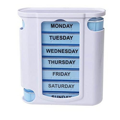 ASFD Estuches para medicamentos Viajes a casa Semanal 7 días Pastillero 28 Compartimentos Organizador de Pastillas Dispensador de Almacenamiento de medicamentos de plástico Cortador