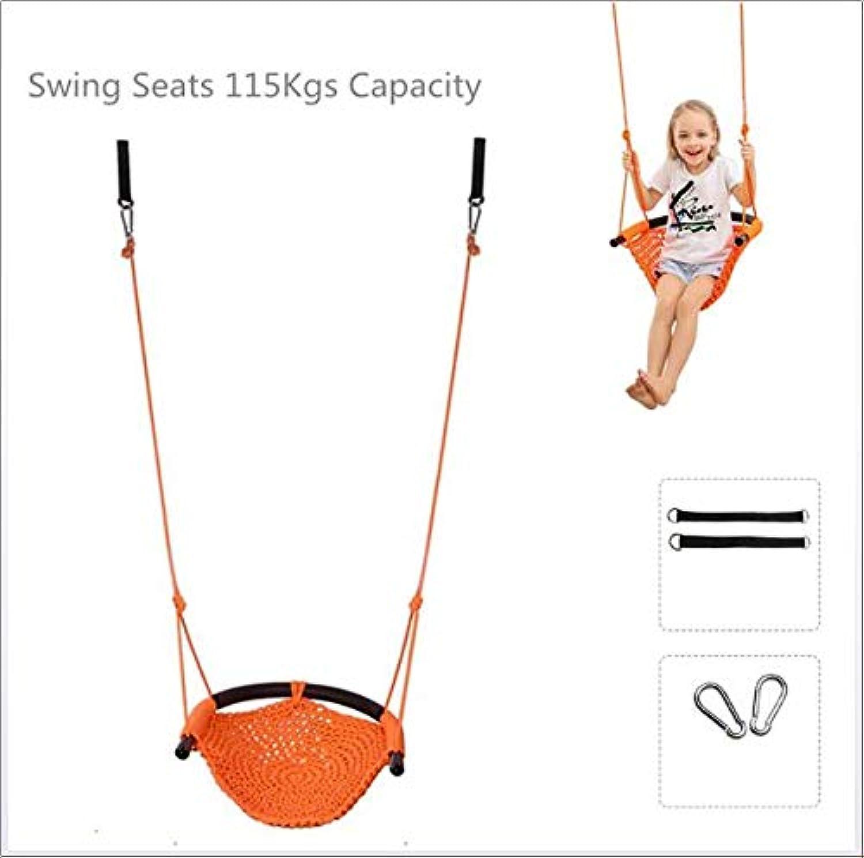 SVNA Schaukelsitz für Kinder Hochleistungs-Seilspielsichere Kinderschaukel, perfekt für Innen-, Auen-, Spielplatz-, Heim-, Baum-, mit Karabinerhaken und Schaukelgurten,Orange