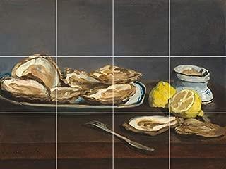 fine Art Still Life Oysters Lemon Antique Painting Ceramic Tile Mural backsplash