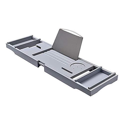 YGD Badkamerrek, multifunctionele opslagtang, bamboe badkuip-frame telescoop/multifunctionele badkuip/badkamerrek/badkuip rek/grijs