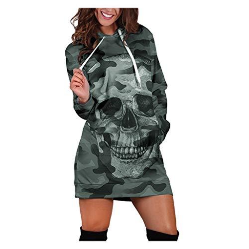 Kanpola Hoodie Damen Lang Kapuzenpullover 3D T-Shirt Totenkopf Print Hoodiekleid Halloween Langarm Pullover BeiläUfige Herbst Pulloverkleid