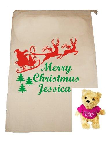Personalisierte Weihnachts-sack und Teddybär, für Mädchen