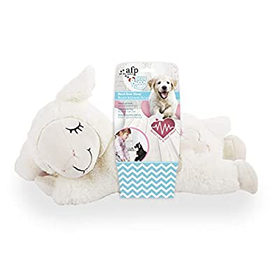 ALL FOR PAWS AFP Snuggle Sheep Pet Behavioral Aid Toy Warm Plush Toy Heart Beat Sheep(No Warming Bag Only Heartbeat)