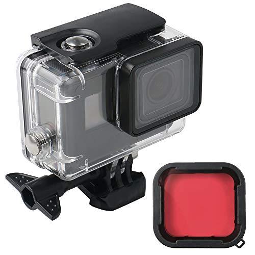 Wasserdichter 60m transparenter Gehäuse-Unterwassergehäuse mit Rotfilter Compatible with GoPro Hero (2018), GoPro Hero 7 Black, GoPro Hero 6, Hero 6 Black, Hero 5, Hero 5 Black