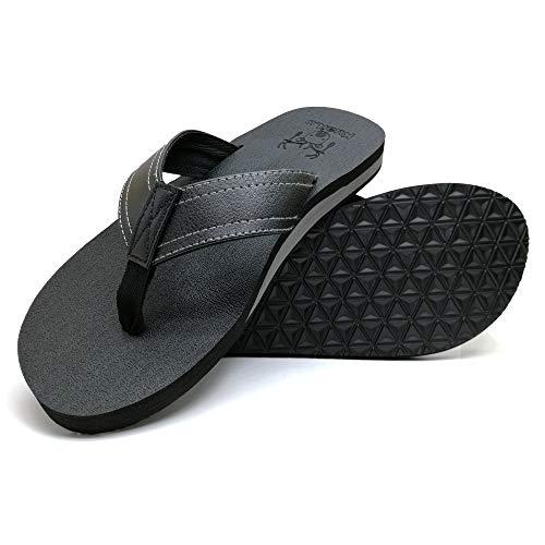 KUAILU Men's Yoga Mat Leather Flip Flops Thong Sandals with Arch Support Black