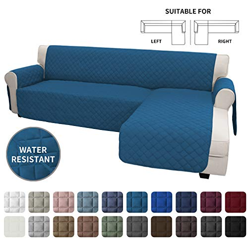 Easy-Going Sofa Slipcover L Shape Sofa Cover Sectional Couch Cover Chaise Lounge Slip Cover Reversible Sofa Cover Furniture Protector Cover for Pets Kids Dog Cat(Large,Peacock Blue/Peacock Blue)