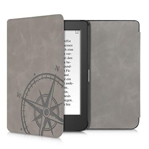 kwmobile Hülle kompatibel mit Tolino Page 2 - Kunstleder eReader Schutzhülle Cover Hülle - Kompass Vintage Grau