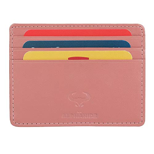 Real Leather Credit Card Holder - Ultra Thin Design - Front Pocket Wallet - RFID (Petal Pink)