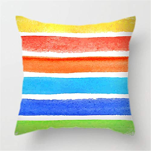 Fundas de Cojines Líneas de Colores Funda de Almohada Cuadrado Terciopelo Suave con Cremallera Invisible para Sofá Cama Coche Dormitorio Decor para Hogar Throw Pillow Case Pillowcase,45x45cm T8184