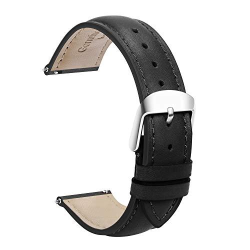 TStrap Uhrenarmband 20mm Leder - Lederarmband Schnellverschluß Schwarz - Armband Uhrenband mit Dornschließe Herren Damen Ersatzarmband - 18mm 19mm 22mm