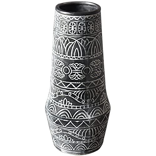Vases Florero Vintage, Tarro de Olla Floral rústico con patrón de tótem, Adorno Decorativo para centros de Mesa o Eventos de decoración del hogar (Size : 14×32cm)