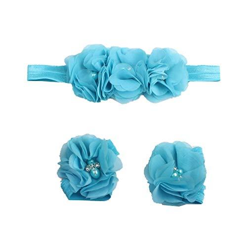 FindeGo FindeGo Mode Baby Chiffon Stirnband-Fuss-Blumen-Set Dunkelblau