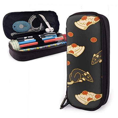 Estuche para lápices de cuero PU de Pizza Rat, organizadores de papelería duraderos para estudiantes con doble cremallera elástica 1.5in X 3.5 X 8 in