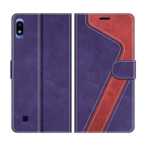 MOBESV Funda para Samsung Galaxy A10, Funda Libro Samsung A10, Funda Móvil Samsung Galaxy A10 Magnético Carcasa para Samsung Galaxy A10 / Galaxy M10 Funda con Tapa, Violeta/Rojo