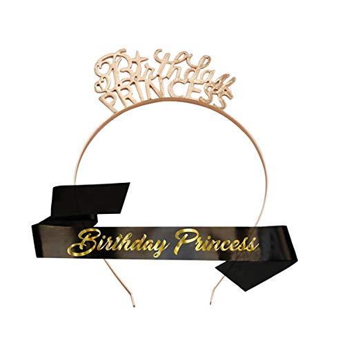 Schwarz Birthday Girl Geburtstag Schärpe Krone Haarreif Tiara Stirnband für Geburtstag mädchen Party Deko Accessoires Geschenk