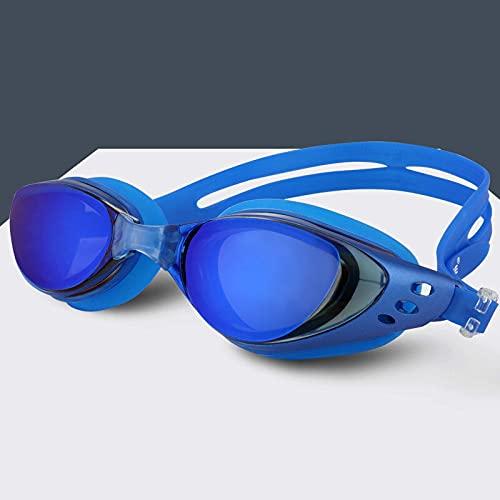 Gafas de natación Miopía Hombres y Mujeres Anti-Niebla Profesional Impermeable Silicona Arena Piscina Gafas de natación Adultos Gafas de natación (Color: Azul)
