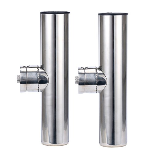 Amarine Made 2pcs Stainless Clamp on Fishing Rod Holder for Rails 7/8' to 1' (2Pcs: 7/8' to 1')