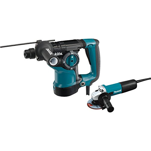 Makita HR2811FX 1-1/8'' Rotary Hammer, accepts SDS-PLUS bits and 4-1/2' Angle Grinder, Teal