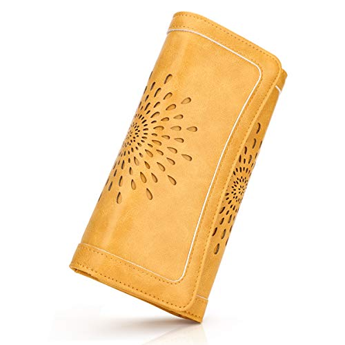 APHISON Womens Wallets RFID Blocking PU Leather Clutch Long Wallet for Women Card Holder Phone Organizer Ladies Travel Purse Hollow Out Sunflower Design Gift Box 2214