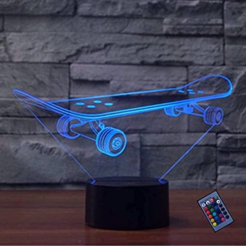 Optische Täuschung 3D Skateboard Nacht Licht 16 Farben Andern Sich Fernbedienung USB-Strom Touch Schalter Dekor Lampe LED Lampe Tisch Kinder Brithday weihnachten Geschenk