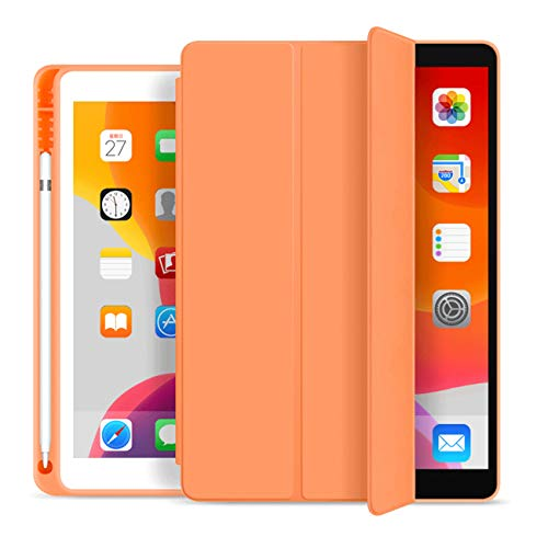 ZOYU iPad 9.7 Inch 2018/2017 Case with Pencil Holder,Ultra-thin and Lightweight Smart Trifold Stand Protective Cover,TPU Soft Silicone Magnetic Auto Sleep/Wake for iPad 5th/6th Generation (Orange)