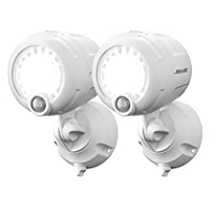 This next generation battery LED spotlight provides 200 lumens of bright outdoor security Lighting. Two-pack White mb360xt spotlights Its unique reflective face spreads the light to create a wider coverage area, making it ideal for large areas The bo...