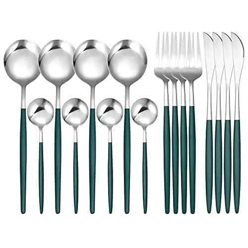 XKMY Juego de 16 cubiertos occidentales de acero inoxidable vajilla negro cuchara tenedor cuchillo cena conjunto completo hogar (color: 16 piezas verde plata)