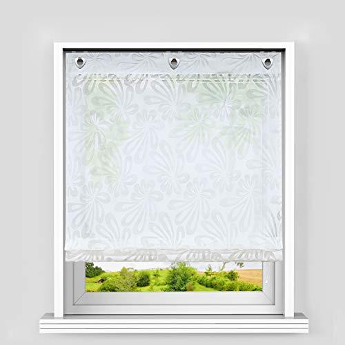 Heichkell Ösen Raffrollo Gardine mit Haken Voile Ausbrenner Raffgardine ohne Bohren Blumenausbrenner Rollos in Küche Weiß BxH 100x140 cm