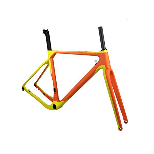 GONGJU 2020 Carbon-Straßen-MTB Fahrrad-Rahmen-Fahrrad-Feld Disc Bike Carbon-Gravel Rahmen Steckachs,56cm Matte