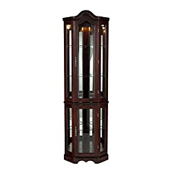 Home Decorators Collection Vitric Lighted Curio, 70 Hx21 Wx16 D, Mahogany